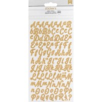 Стикеры Алфавит Glitter Alphabet Stickers 265/Pkg - Gold/Small Script - American Crafts