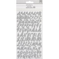 Стикеры Алфавит Glitter Alphabet Stickers 265/Pkg - Silver/Small Script - American Crafts