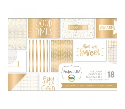 "Карточки Project Life Themed Cards 4""X6"" 18/Pkg - Gold & Bold"