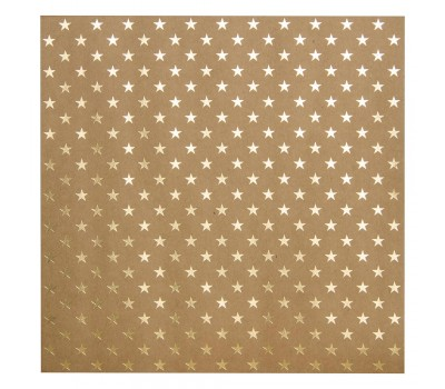 "Кардсток Bazzill Foiled Kraft Cardstock 12""X12"" - Gold Stars"