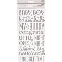 Стикеры объемные Night Night Baby Boy Words & Numbers/Silver от Pebbles