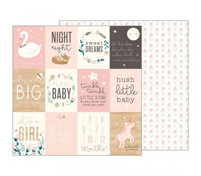 Лист бумаги Night Night Baby Girl - Sweet Baby Girl Cards от Pebbles