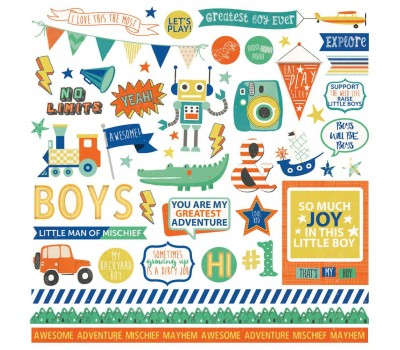 "Стикеры Boys Rule Stickers 12""X12"" - Photoplay Paper"