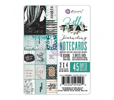 "Карточки Zella Teal Journaling Notecards 3""""X4"""" от  Prima Marketing"